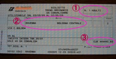 イタリアFSの切符
