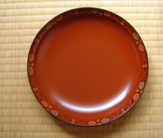 華文漆絵丸盆