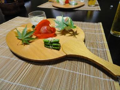 団扇皿にほおずきトマト