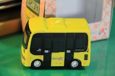 2010-09-01_EOS 7D_4478、2010.9.1.、福山市バス交通利用促進協議会、「福山市中心部循環バス・まわローズ」、『走る!光る!鳴る!バス型目覚まし時計』、4