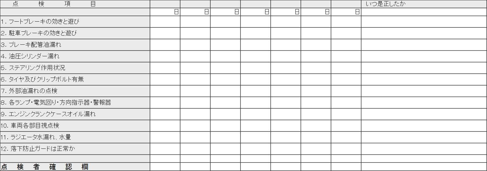 フォークリフト点検表