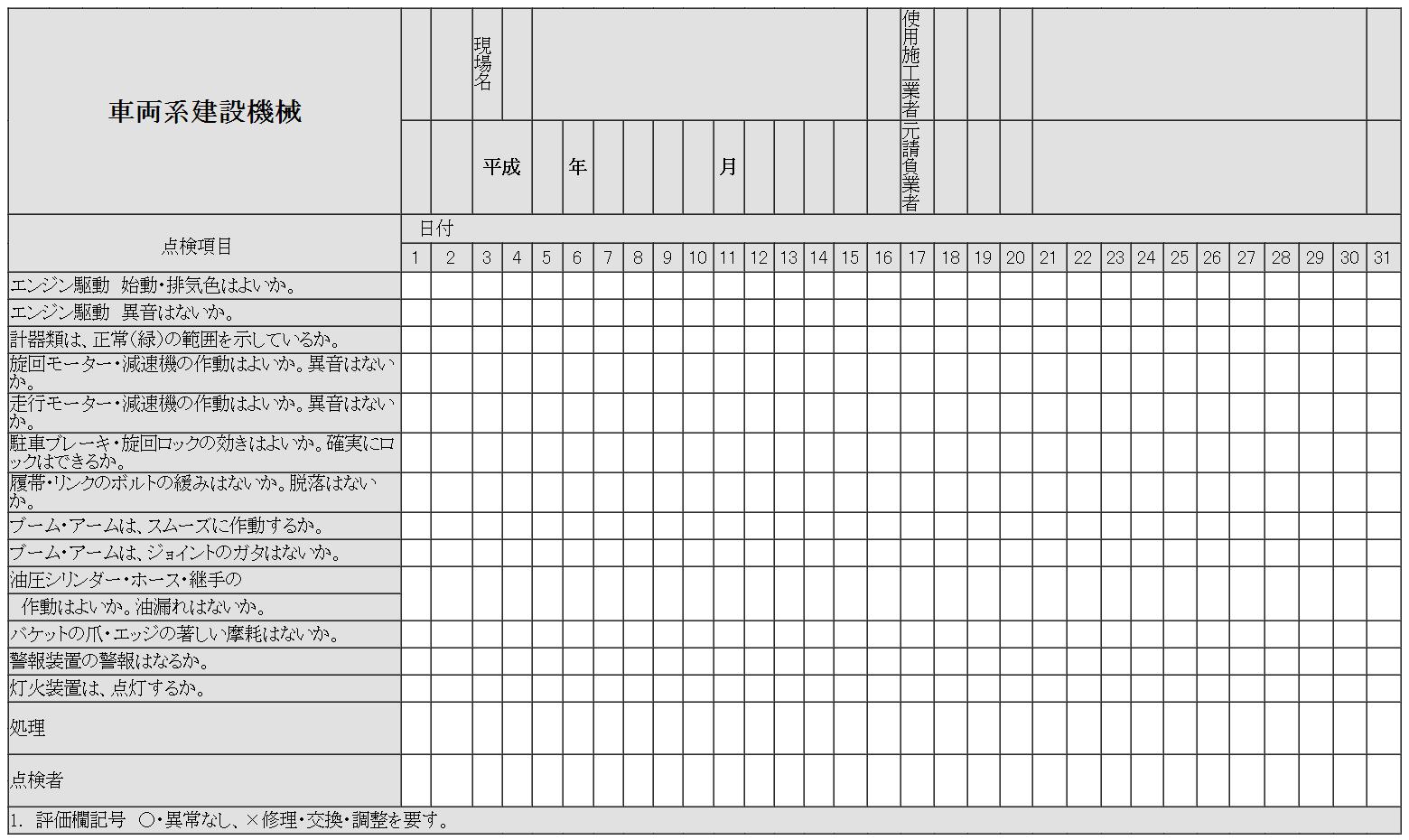 車両系建設機械点検表