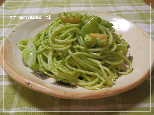 小松菜と海老のパスタ_1
