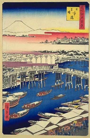 広重の浮世絵「日本橋雪晴」名所江戸百景