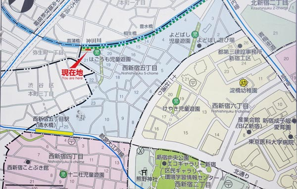 新宿5丁目 神田川周辺地図