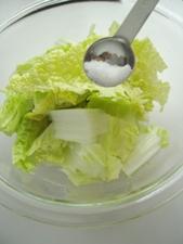 白菜は塩をふって10分置きます