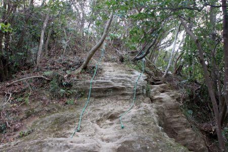 山頂直下のロープ