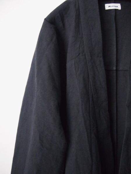 MITTANミタンlongjacketロングジャケット黒綿麻03