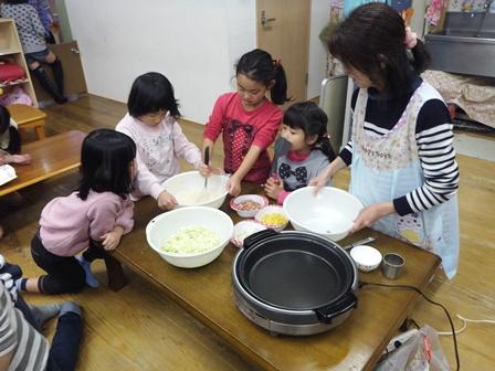 学童 お好み焼き作り1