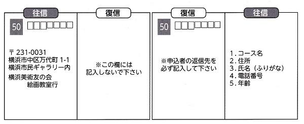 横浜市民ギャラリー絵画教室 2013 平成25年 はがき