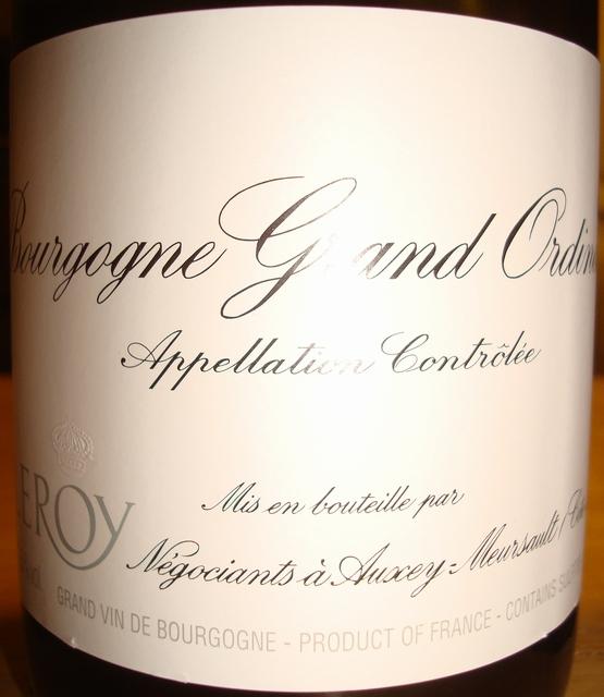 Bourgogne Grand Ordinaire Blanc Maison Leroy 2011