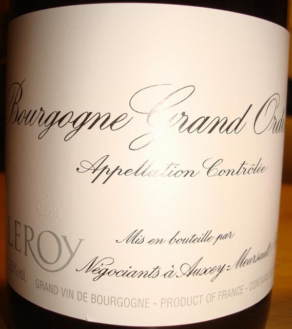 Bourgogne Grand Ordinaire Rouge Maison Leroy 2011