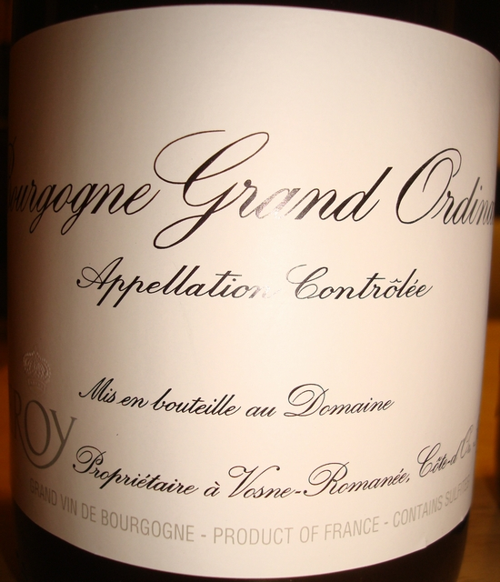 Bourgogne Grand Ordinaire Rouge Domaine Leroy 2011