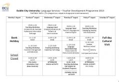 dcu 小学校 Timetable