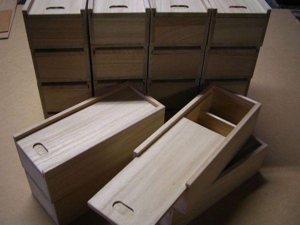 スライド式小物入れ木箱ケース
