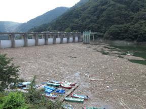 ダム上流側は漂流物がたまってます