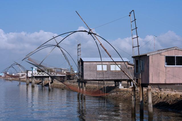 児島の四つ手網小屋