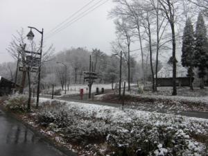 キャンプ場雪