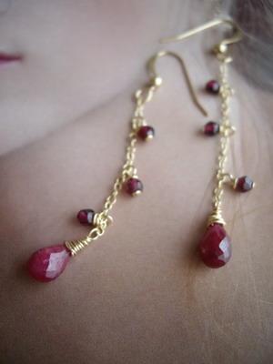 ruby briolette earrings