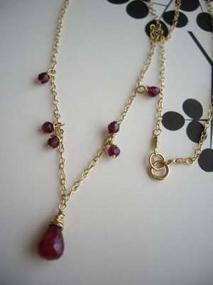 ruby briolette necklace