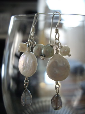 coin pearl and labradorite earrings