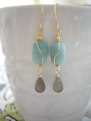 square amazonite & labradorite earrings