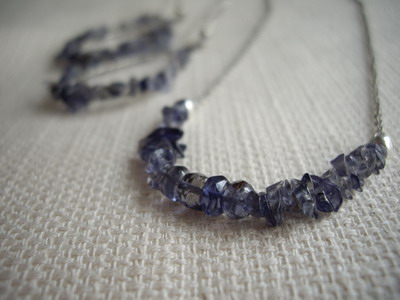 iolite bar necklace,hoop earrings