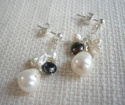 black&white necklace,earrings