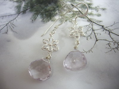 pink amethyst briolette earrings