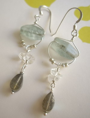 flaurite and labradorite earrings