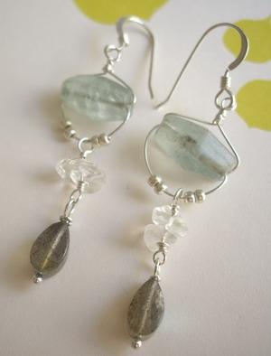 flaurite and labradorite earrings