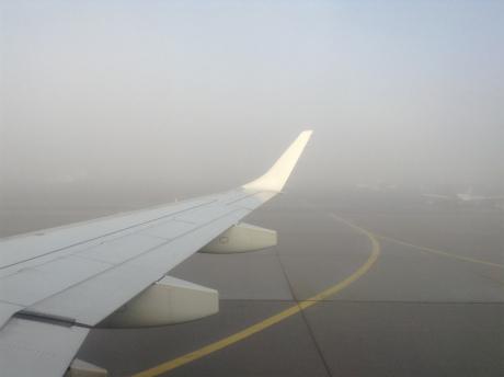 霧の中の着陸
