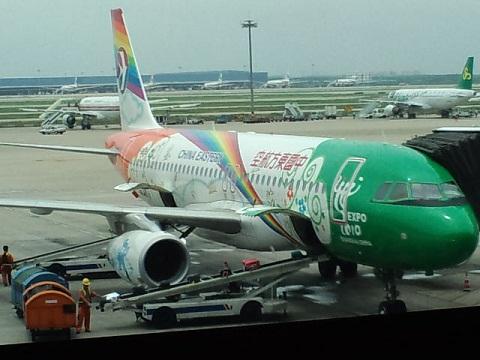 上海 エキスポ便の飛行機