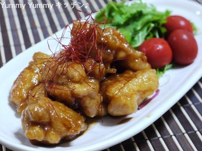にんにくにんにくを使って、鶏のから揚げさっぱり中華みそダレ和え