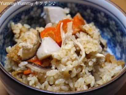 ゆりりんさんの 里芋ときのこの味噌味の炊き込みごはん