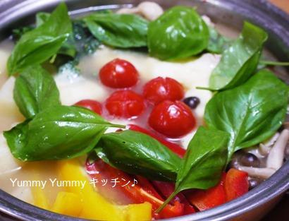 ミニトマトとモッツァレラのイタリアンな塩ちゃんこ鍋!