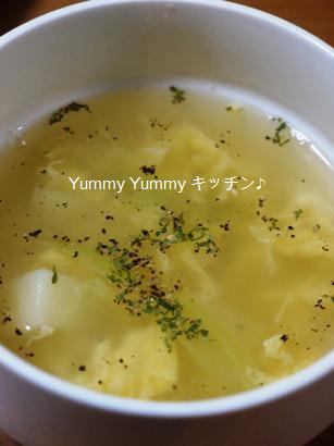 キャベツの芯とジャガイモの卵スープ♪