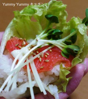 レタスにのっけ寿司♪スモークサーモンブログ用