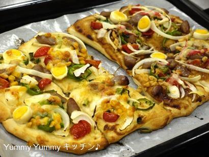 ピザ作り焼きあがりYさん作
