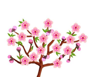 イラスト ひな祭り 桃の花 イラスト : ... ラバー-桃の花イラスト無料