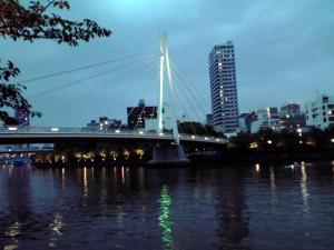120611 造幣局のすぐ横を流れる大川にかかる橋(夕暮れ)