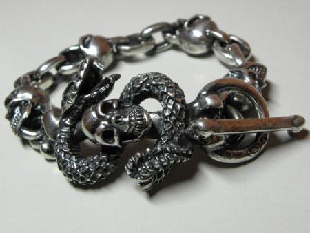 Gaboratory,Skull on snake,Bracelet