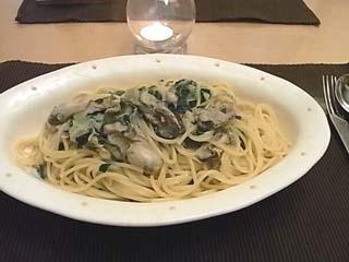 牡蠣と青菜スパ1
