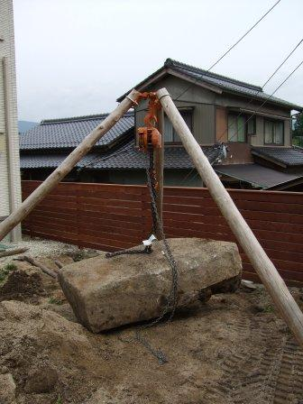 リガーデン工事 庭石吊り上げ