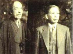 横山大観(左)醉心山根社長(右)
