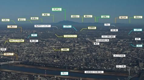 説明図 筑波山方向(東京スカイツリーより)
