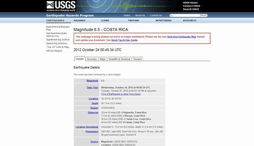 南米コスタリカでM6.5の地震