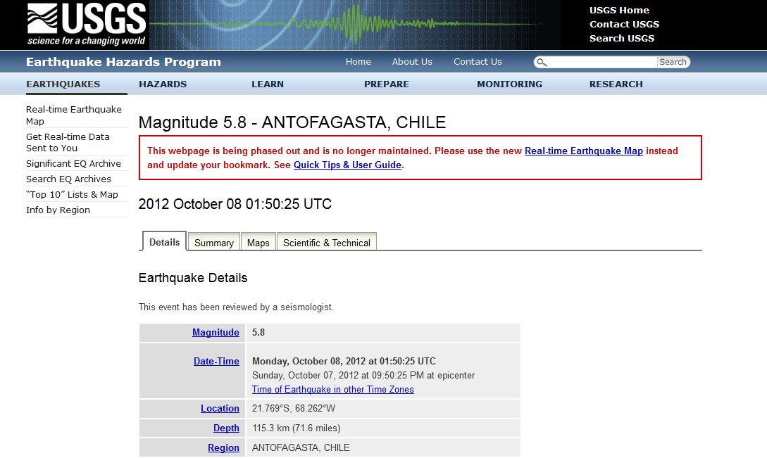 チリM5.8 カリフォルニアM6.0  地震