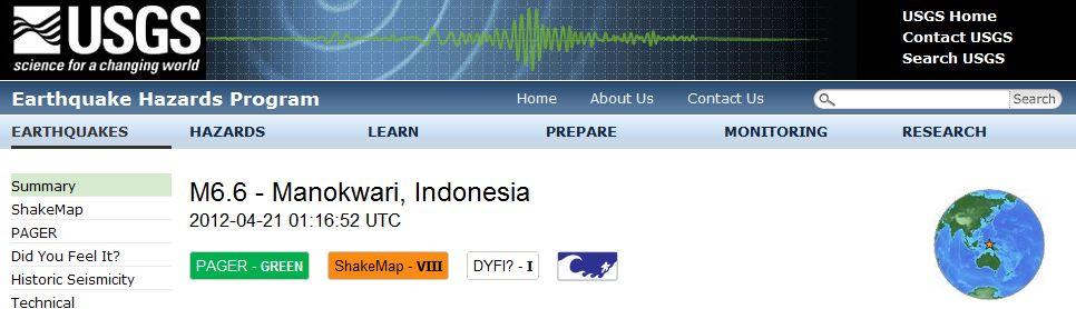 【地震】インドネシア東部・ニューギニア島沖でM6.6