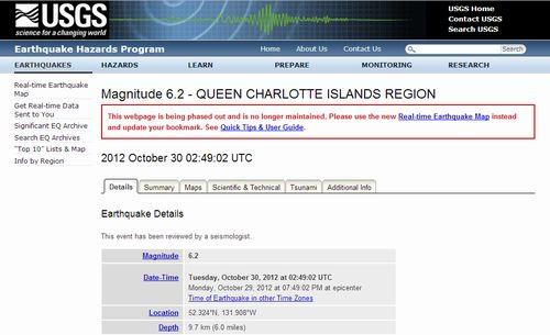カナダ 未だに地震続くM6.2 深さ9.7km